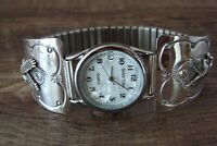 Native American Indian Jewelry Sterling Silver Eagle  Watch - Navajo