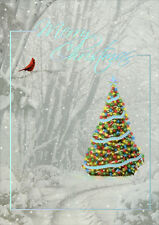Silver Foil Memories of Christmas Past - Box of 14 Alan Giana Christmas Cards
