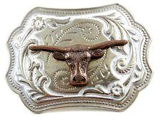 Western Silvertone Longhorn Bull Head Belt Buckle #102113q