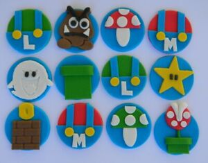12 edible MARIO GAME theme cake cupcake topper DECORATION goomba BOO mushroom