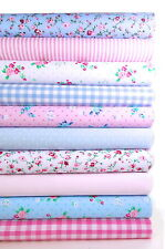 """FABRIC BUNDLE PINK AND BLUE 10 FAT QUARTERS POLYCOTTON CRAFT FLORAL GINGHAM 21"""""""
