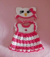 """Wellie Wishers Clothes Hot Pink Hello Kitty Dress & Hat Fits American Girl 14.5"""""""