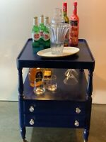 Bar Cart -Repurposed custom bar cart with light and wine/martini glass rack