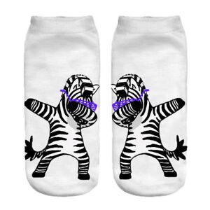 Zebra dancing dabbing socks - dab sunglasses animal print sock novelty footware