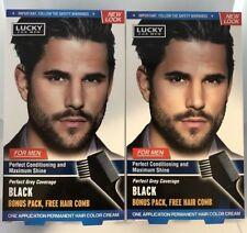 2 Packs LUCKY FOR MEN Permanent Hair BLACK Color Hair Dye True Color for Men