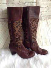 Born Leopard Print Heel Boots Pony Hair Brown Black Size 8 M/W