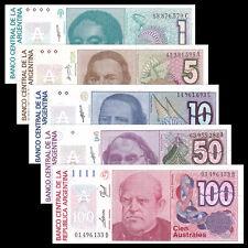 Argentina 5 PCS Banknotes Set (1+5+10+50+100 Australes), P-323-327, UNC