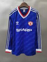 Manchester United 1986 away long sleeve Retro Soccer Jersey Shirt Football