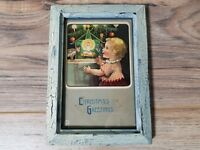 "Vintage 7"" x 5"" Christmas Greetings Framed Antique Postcard from 1908"
