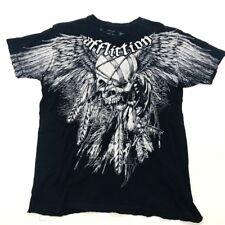 Affliction Mens Medium Distressed Edges Black Graphic T Shirt (573)