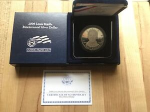 2009 Louis Braille Bicentennial Proof Silver Dollar with Box & C.O.A.