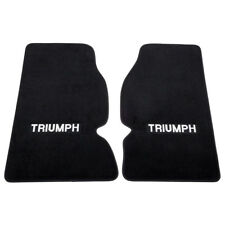 Triumph Floor mats Pair Black Embroidered plush 1961 - 1976 TR4 TR4A TR5 TR6 NEW