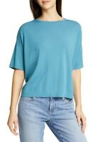 Eileen Fisher Size XL 1X Knit Tunic Top Sweater Jersey Tencel Teal NWT $208