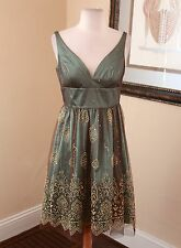 Adrianna Papell Green Brown Gold Metallic Cocktail Evening Formal Dress Sz 6P P6
