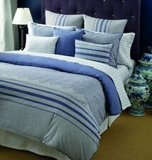Tommy Hilfiger Great Point Cotton Duvet Cover Set, Twin, Reversible  Grey/Navy