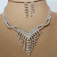 Schmuckset Collier Ohrringe Kristall Strass Braut Halskette Kette Silber 67