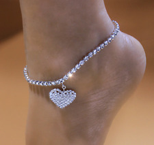 Anklets Leg Chain for Women Heart Rhinestone Beach Barefoot Love Pendant