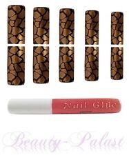 Nagel Tips Gold mit Kleber Nailart Airbrush Tips Designtips Frenchnails14