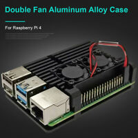 For Raspberry Pi 4B Protect Box CNC Aluminum Alloy Case Enclosure w Cooling Fan