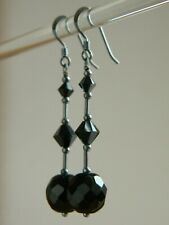 Vintage 50s French Jet, Swarovski Crystal Elements, Oxidised 925 Silver Earrings