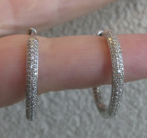$7,900  Large 14k White Gold 1.75ct  Diamonds In -Out Hoop Earrings