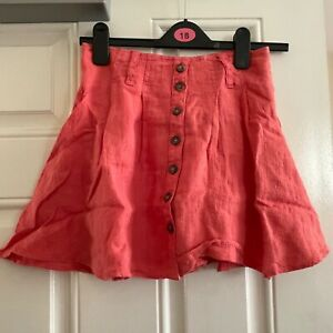 Free People Button Up Linen Culottes Shorts Skort Coral Pink US 0 UK 4 XXS New