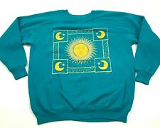 VINTAGE Sun Moon Sweater Womens Size Extra Large Teal Blue Pullover Crew USA 90s