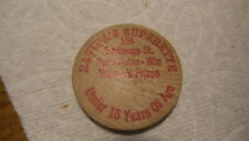 Vintage Advertising WOODEN NICKEL Ravida's Superette, 155 Exchange St., Red