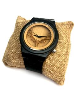 Men's Vintage Deer Design Ebony Wood Watch / Wooden Gifts for Men / Mens Watch