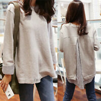 Womens Fake Two Pieces Crew Neck Casual Loose Oversized Plus T Shirt Blouse Tops