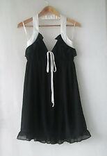 Mink Pink sz 12 Feminine Black White Ruffle Dress