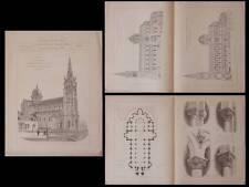 CHATEAUROUX, EGLISE NOTRE DAME  - GRAVURES ARCHITECTURE 1895 - ALFRED DAUVERGNE