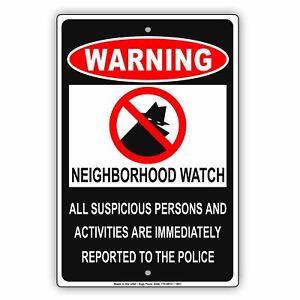 Warning Neighborhood Watch Security Crime Protected Area Aluminum Metal Sign