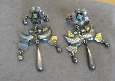 Federico Jimenez Sterling Silver Turquoise Doves Of Love Cascabel Earrings