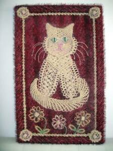 Cat and Flowers. Macrame Folk Art Painting by Sofia Goldberg. Original, Handwork