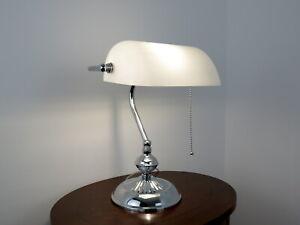 lampada da tavolo ministeriale scrivania abat jour classica vintage cromo bianco
