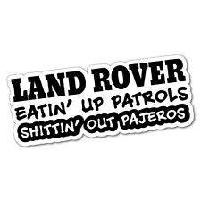 LAND ROVER EATING UP PATROL PAJERO Sticker Decal 4x4 4WD Funny Ute #5053J