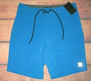 MENS HURLEY PACIFIC BLUE 4-WAY STRETCH SWIM BOARD SHORTS SIZE 38