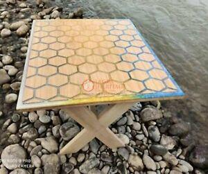 Honeycube Design Acacia Wooden Multi Resin Epoxy River Mappa Burl Table Sold Top