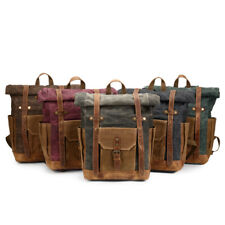 Vintage Oil Waxed Canvas Leather Backpack Large Capacity Traveling Bag