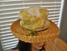 "Vintage 1950`S Beauty ""Fagon Boutique"" Italy/France Designer Straw & Brocade Hat"