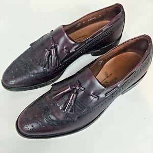 Allen Edmonds Men's 9.5C Arlington Leather Tassle Wing Tip Loafers Shoe Burgundy