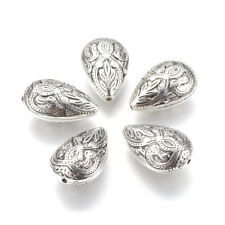 10pcs Bali Style Acrylic Drop Beads Carved Big Loose Spacer Antique Silver 26mm