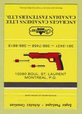 Matchbook Cover - Ancrages Canadiens Fasteners Montreal QC 40 Strike