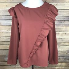 Kensie Jeans Womens Small Blouse Top Ruffle Terracotta Mauve Pink Long Slv Shirt