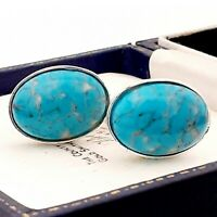 Vintage 1950s Turquoise Blue Marble Peking Glass - Oval Silver Plated Cufflinks