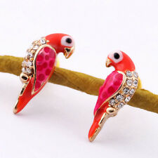 New Charm Crystal Earrings Women Loverly Animal Red Bird Ear Stud Earrings ATAU