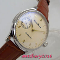 44mm parnis Beige dial Steel 17 jewels 6497 Handaufzug movement Uhr men's Watch