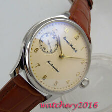 44mm PARNIS Beige dial 17 jewels 6497 Handaufzug Mechanisch Uhr men's Wristwatch