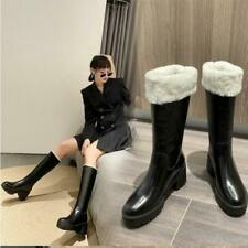 New Womens Leather Fur Lined Platform Chunky Heel Knee High Boots Shoes